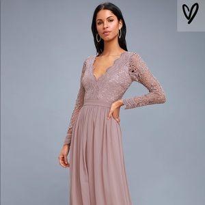 LULU's awaken my love long sleeve lace maxi dress